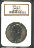 """Eisenhower Dollars: , 1971-D $1 MS66 NGC. The latest Coin World """"Trends"""" price is $..."""