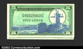 Military Payment Certificates: , Military Payment Certificate Series 681 5¢, two examples, both ...
