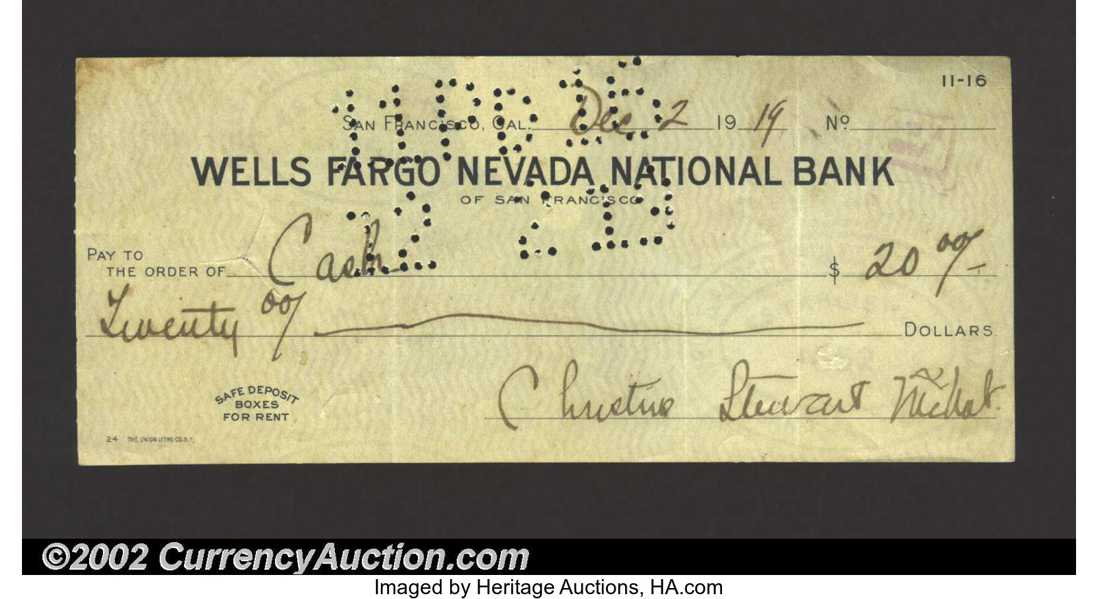 1919 Check from the Wells Fargo Nevada National Bank, San