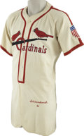 "Baseball Collectibles:Uniforms, 1945 Albert ""Red"" Schoendienst Game Worn Rookie Uniform. Thered-headed Hall of Famer wore the uniform of the St. Louis Car..."