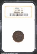 Proof Indian Cents: , 1866 1C PR65 Red and Brown NGC. Moderately glassy ...