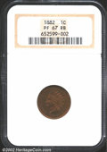 Proof Indian Cents: , 1882 1C PR67 Red and Brown NGC. A no-questions Superb Gem,...
