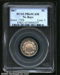 1867 5C No Rays PR63 Cameo PCGS. This second-year proof is lightly tinged in champagne-gray shades that deepen to a milk...
