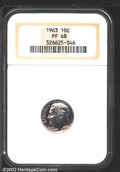 Proof Roosevelt Dimes: , 1963 10C PR68 NGC. Variegated concord-grape patina with ...