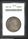 Early Half Dollars: , 1805 50C VG8 ANACS. O-112, R.2. A variety attributable by ...