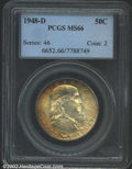 Franklin Half Dollars: , 1948-D 50C MS66 PCGS. Originally toned, the surfaces are ...