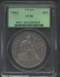 Seated Dollars: , 1853 $1 VF35 PCGS. LIBERTY is complete, except for the ...