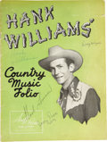 Music Memorabilia:Autographs and Signed Items, Hank Williams Signed Country Music Folio. A vintage Hank WilliamsCountry Music Folio, signed by the Country music icon in g...(Total: 1 Item)