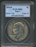 Eisenhower Dollars: , 1976-D $1 Type One MS66 PCGS. Highly lustrous with even ...