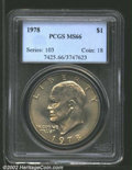 Eisenhower Dollars: , 1978 $1 MS66 PCGS. Lustrous with bright yellow-green ...