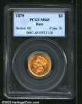 Three Dollar Gold Pieces: , 1879 $3 MS65 PCGS. A sharply struck and lustrous Gem that ...