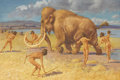 Fine Art - Painting, American:Modern  (1900 1949)  , WILLIAM HUTTON RIDDELL (1880-1947). The Woolly Mammoth. Watercolor on paper. 16-1/4 x 24-1/4 inches (41.3 x 61.6 cm). Si...