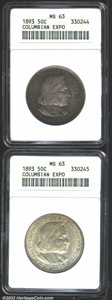 1893 50C Columbian MS63 ANACS, two coins, the first is richly toned in antique-copper and charcoal colors while the seco...