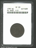 1797 1/2 C Plain Edge VF20 ANACS. B-2c, C-2, R.3. Struck on a cut-down Talbot, Allum & Lee token. The surfaces a...