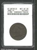 1809 1C --Corroded, Tooled--ANACS. XF Details, Net VF20. S-280, R.2. Bright on the obverse with medium to darker colorat...