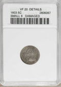 Early Half Dimes: , 1803 H10C Small 8--Damaged--ANACS. VF20 Details. V-3, LM-1, R.6.Only three varieties are known of this early half dime, of...