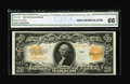 Large Size:Gold Certificates, Fr. 1187 $20 1922 Mule Gold Certificate CGA Gem Uncirculated 66. Avery handsome $20 Gold with bold colors, sharp print qual...