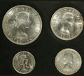 Australia: , Australia: Elizabeth II Proof Set 1963 - Pair, KM-PS28, two nicefour coin sets from the Melbourne Mint in the original blackplastic c... (Total: 8 Coins Item)