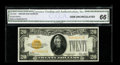 Small Size:Gold Certificates, Fr. 2402 $20 1928 Gold Certificate. CGA Gem Uncirculated 66.. Rich golden color and pleasing paper waves are noted on this $...