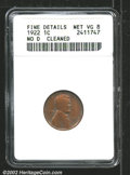 1922 No D 1C Strong Reverse--Cleaned--ANACS. Fine Details, Net VG8. Heavily worn, the cleaning has left a silvery residu...