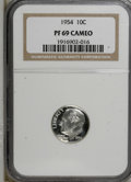 Proof Roosevelt Dimes: , 1954 10C PR69 Cameo NGC. NGC Census: (7/0). PCGS Population (1/0).Numismedia Wsl. Price for NGC/PCGS coin in PR69: $1,075...