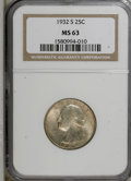 Washington Quarters: , 1932-S 25C MS63 NGC. NGC Census: (453/553). PCGS Population(845/1013). Mintage: 408,000. Numismedia Wsl. Price for NGC/PCG...