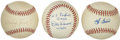 Autographs:Baseballs, Yogi Berra, Whitey Ford, and Don Larsen Single Signed Baseballs Lotof 3. Three former New York Yankee teammates have added...