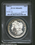 1882-S $1 MS66 Prooflike PCGS. The borders have bright honey-gold patina. A well struck Gem that has flashy mirrors and...