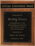 "Movie/TV Memorabilia:Awards, Buddy Ebsen's Dance in Action Lifetime Achievement Award. Presentedto Ebsen ""In Recognition of His Outstanding Contribution... (Total:1 Item)"