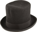 Movie/TV Memorabilia:Costumes, Buddy Ebsen's Black Top Hat. A stylish black felt top hat owned andworn by Ebsen for unspecified occasions. It is a size 7 ... (Total:1 Item)