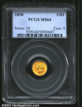 1850 G$1 MS64 PCGS. A well struck and lustrous example that has bright green-gold color. The reverse border has a length...