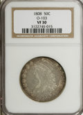 Bust Half Dollars: , 1808 50C VF30 NGC. O-103. NGC Census: (12/1367). PCGS Population(12/289). Mintage: 1,368,600. Numismedia Wsl. Price for NG...
