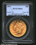 Liberty Double Eagles: , 1876 $20 MS62 PCGS. Fully lustrous with a few abrasions ...