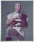 Autographs:Photos, Mickey Mantle Signed Photograph. This iconic and instantlyrecognizable image of the Mick presents perfectly in the form of...