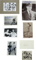 Autographs:Letters, Baseball Hall of Famers Signed Pieces Lot of 8. A total of eightphotos, index cards, and postcards here act as the canvas ...
