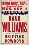 Music Memorabilia:Posters, Hank Williams Himmelrich's Grove Concert Poster (1950). Hank andhis Drifting Cowboys drifted on up to Womelsdorf, PA for th...(Total: 1 Item)