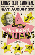 "Music Memorabilia:Posters, Audrey ""Mrs. Hank"" Williams Hilltop Park Concert Poster (1953).Hank Williams' first wife, Audrey, has been credited with be...(Total: 1 Item)"