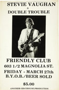Music Memorabilia:Posters, Stevie Ray Vaughan & Double Trouble Friendly Club ConcertPoster (1981). Stevie was still a struggling musician in 1981,but... (Total: 1 Item)