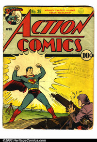 Action Comics #35 (DC, 1941). Condition: FR. Complete, but cover and pages are brittle, with chips out of most interior...