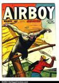 Golden Age (1938-1955):War, Airboy Comics Lot (Hillman Fall, 1948-53). This lot consists offour different Airboy Comics. They are as follows: Volum...