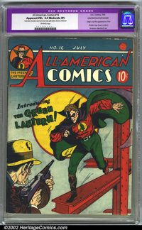 All-American Comics #16 (DC, 1940). CGC Apparent FN+ 6.5 Off-white pages. Moderate professional restoration includes: co...