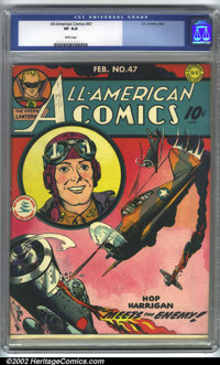 All-American Comics #47 (DC, 1943). CGC VF 8.0 White pages. Overstreet 2001 FN 6.0 value = $300; NM 9.4 value = $950. Ov...