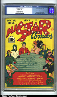 All-Star Comics #3 (DC, 1940). CGC FN/VF 7.0 Off-white to white pages. Origin and first appearance of the JSA. Overstree...