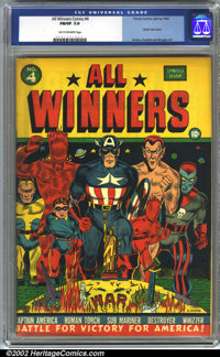 All-Winners Comics #4 (Timely, 1942). CGC FN/VF 7.0 Tan to off-white pages. Classic war cover. Avison, Everett, and Burg...