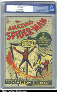 The Amazing Spider-Man #1 Overstreet copy (Marvel, 1963). CGC VF/NM 9.0 Off-white to white pages. First appearance of J...
