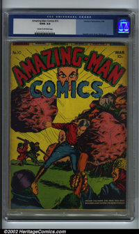 Amazing-Man #10 (Centaur, 1940). CGC G/VG 3.0 Cream to off-white pages. Everett cover and art. Simon art. Overstreet 200...