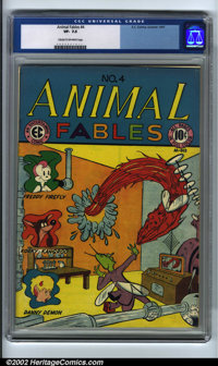 Animal Fables #4 (EC, 1947). CGC VF- 7.5 Cream to off-white pages. Overstreet 2001 FN 6.0 value = $64; NM 9.4 value = $1...