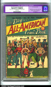 Big All-American Comic Book #1 (DC, 1944). CGC Apparent VF- 7.5 Off-white pages. Slight amateur restoration includes: mo...