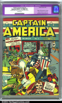 Captain America Comics #1 (Timely, 1941). CGC Apparent FN/VF 7.0 Off-white pages. Slight amateur restoration includes: c...