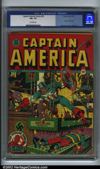 Captain America Comics #28 (Timely, 1943). CGC FN+ 6.5 Off-white pages. Human Torch story. Schomburg cover, Shores art...